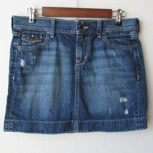 Old Navy Dark Wash Distress Denim Jean Mini Skirt